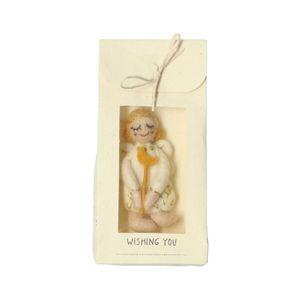 Wenskaart/cadeauzakje met engeltje, vilt